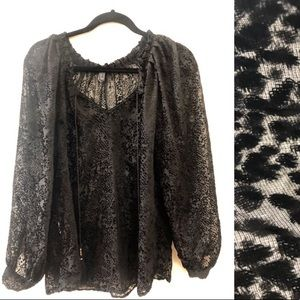 Beautiful velvet dotted sheer blouse with tassels